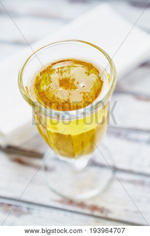 Glass of Cold Beer with Lemon Juice