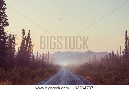 Scenic highway in Alaska, USA