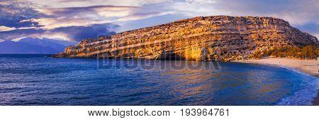 Famous beautiful beaches of Greece - Matala in Crete island