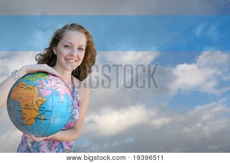 The woman with globe in hands