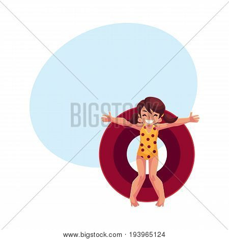 Teenage girl with ponytails swimming on floating inflatable ring, top view cartoon vector illustration with space for text. Teen girl, teenager floating on inflatable ring in swimming pool