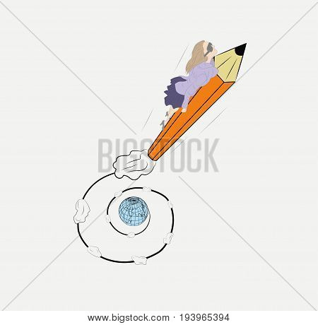 A woman on a pencil in the form of a rocket takes off from Earth. Hand drawn cartoon vector illustration for design and infographics.