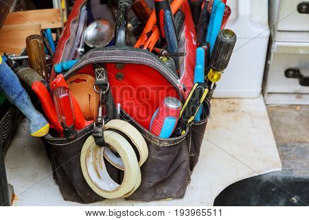 Work Tools Background. Bag With Tools Tool, Construction, Background Bag