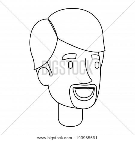 monochrome silhouette of man face with van dyke beard vector illustration