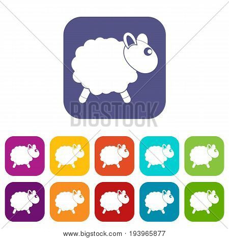 Sheep icons set vector illustration in flat style In colors red, blue, green and other