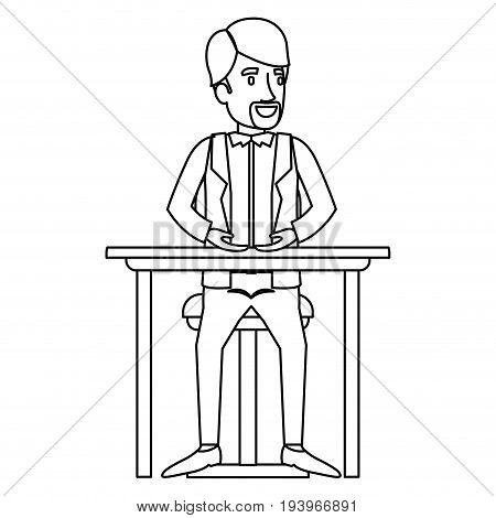monochrome silhouette of man with formal clothes and necktie and sitting in chair in desktop in closeup vector illustration