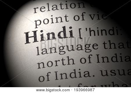 Fake Dictionary Dictionary definition of the word Hindi. including key descriptive words.