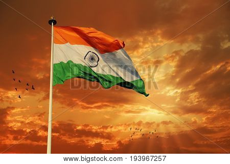 Tricolor Indian Flag during Sunset and beautiful sky