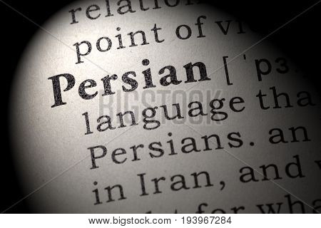 Fake Dictionary Dictionary definition of the word Persian. including key descriptive words.