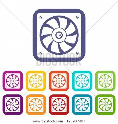 Computer fan icons set vector illustration in flat style In colors red, blue, green and other