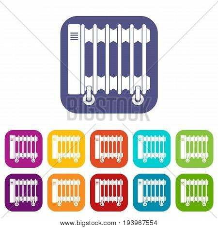 Oil electric heater on wheels icons set vector illustration in flat style In colors red, blue, green and other