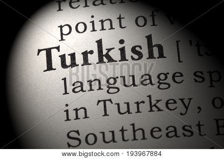 Fake Dictionary Dictionary definition of the word Turkish. including key descriptive words.