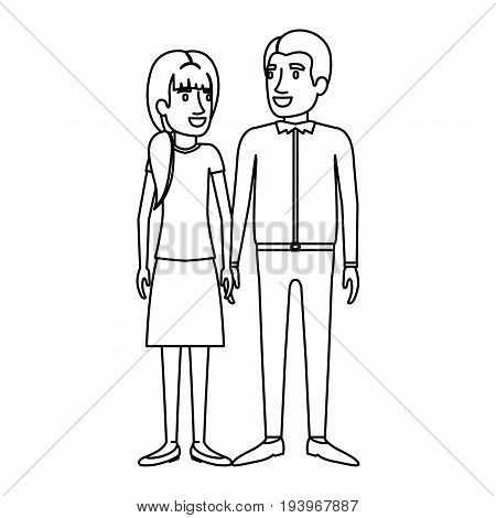 monochrome silhouette of man and woman standing and her with ponytail and him in casual clothes vector illustration