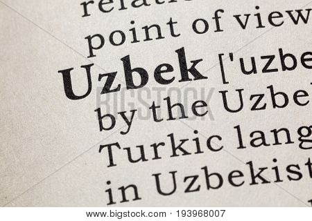 Fake Dictionary Dictionary definition of the word Uzbek. including key descriptive words.