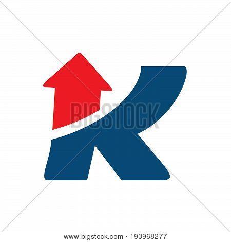 K Arrows Letter Logo Template vector illustration.