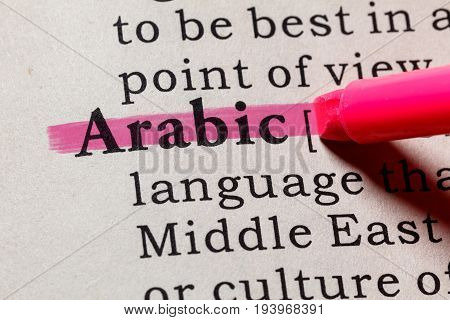 Fake Dictionary Dictionary definition of the word Arabic. including key descriptive words.