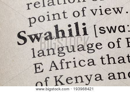 Fake Dictionary Dictionary definition of the word Swahili. including key descriptive words.