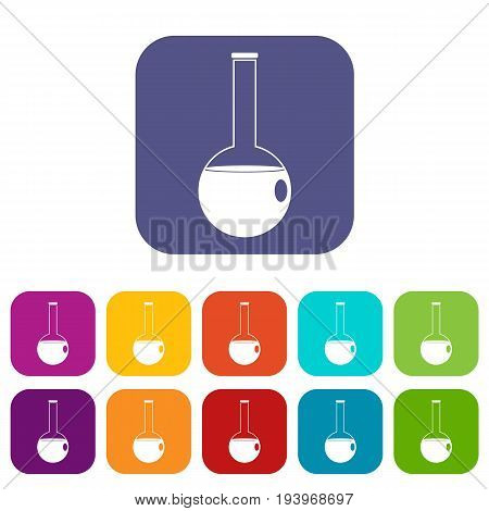 Chemical beaker icons set vector illustration in flat style In colors red, blue, green and other