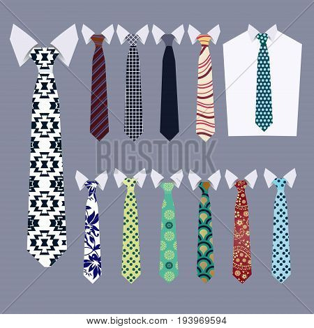 Set of Vector Ties fashion neckties collection on grey background.