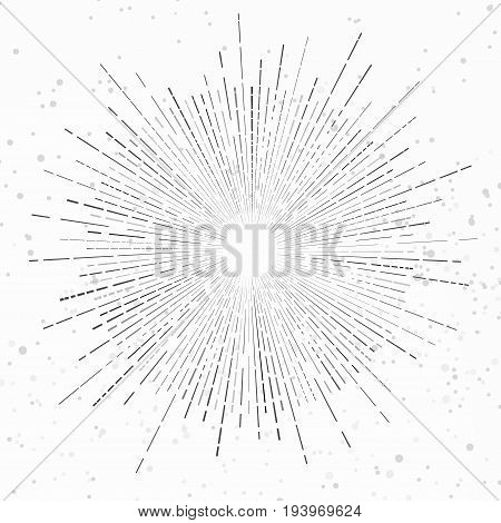 Modernistic isolated retro style vintage sunburst flare background. Radiant graphic explosion star. Line abstract firework. Starburst symbol. Vector illustration