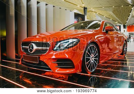 Car Mersedes Benz E-class. Russia. Saint-petersburg. June 2017