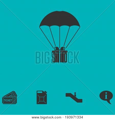 Parachute gift box package icon flat. Simple vector symbol and bonus icon