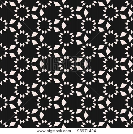 Vector monochrome seamless texture. Floral tile pattern. Abstract geometric background with simple geometrical shapes, stars, triangles, repeat tiles. Design pattern, textile pattern, covers pattern, digital pattern, web pattern.