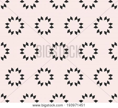 Vector geometric seamless texture, minimal floral tile pattern. Abstract monochrome background with simple geometrical shapes, flowers stars. Oriental design element for decor, fabric, prints, covers. Abstract seamless pattern.