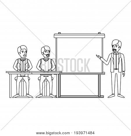 monochrome background with couple of man sitting in a desk for executive orator in presentacion business people vector illustration