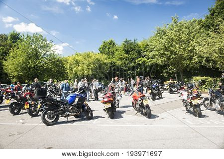 Dorking UK-July 02 2017:Motorcycle Enthusiasts meeting at Cafe near Box Hill in Surrey