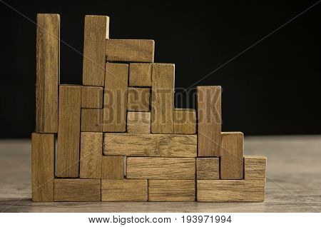 The concept of logical thinking geometric shapes, toy wooden blocks