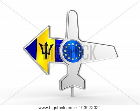 Emblem design for airlines, airplane tickets, travel agencies. Airplane icon and destination arrow. Flags of the European Union and Barbados. 3D rendering
