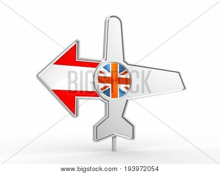 Emblem design for airlines, airplane tickets, travel agencies. Airplane icon and destination arrow. Flags of the Great Britain and Austria. 3D rendering