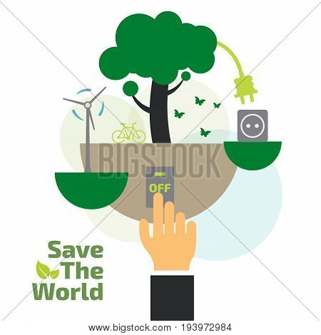Savings concept switch off energy concept idea abstract infographic layout vector illustration