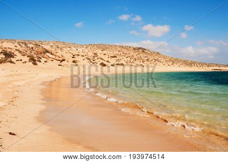 a view of the white sand and the clear water of La Francesa Beach in La Graciosa island, in the Canary Islands, Spain