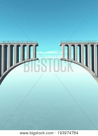 A gap in the concrete bridge as a symbol of risk and danger. This is a 3d render illustration