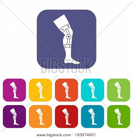 Retentive bandage icons set vector illustration in flat style In colors red, blue, green and other