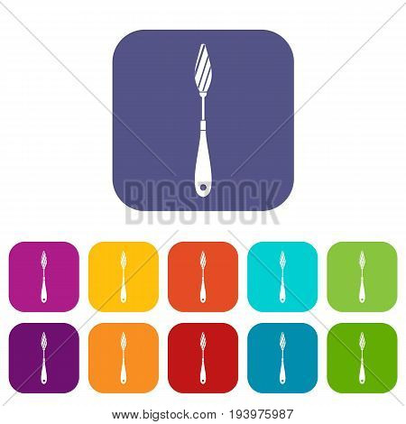 Scraper icons set vector illustration in flat style In colors red, blue, green and other