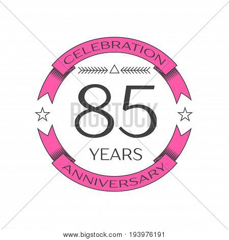 Realistic eighty five years anniversary celebration logo with ring and ribbon on white background. Vector template for your design