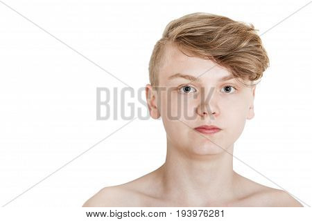 Handsome Teenager With Trendy Hairstyle