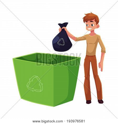 Young man putting garbage bag into trash bin, waste recycling concept, cartoon vector illustration isolated on white background. Full length portrait of man throwing garbage bag into trash bin