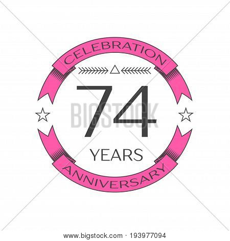 Realistic seventy four years anniversary celebration logo with ring and ribbon on white background. Vector template for your design