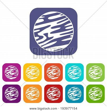 Far away planet icons set vector illustration in flat style In colors red, blue, green and other