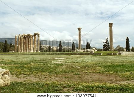 Impressive Remains of The Temple of Olympian Zeus in Athens, Greece