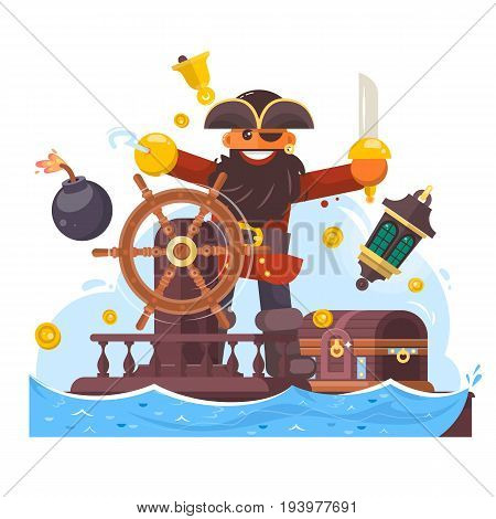 Cartoon pirate with sword and hook on ship. Flat vector illustration