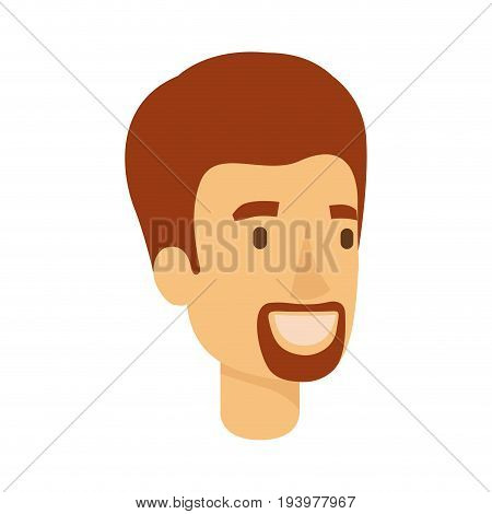 colorful silhouette of man face with short red hair and van dyke beard vector illustration