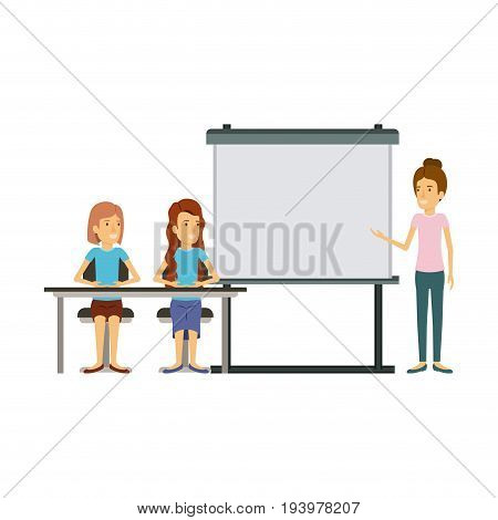 white background with couple of women sitting in a desk for female executive in presentacion business people vector illustration