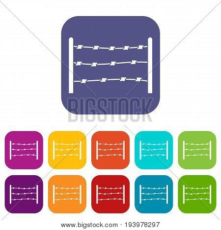 Restricted area icons set vector illustration in flat style In colors red, blue, green and other