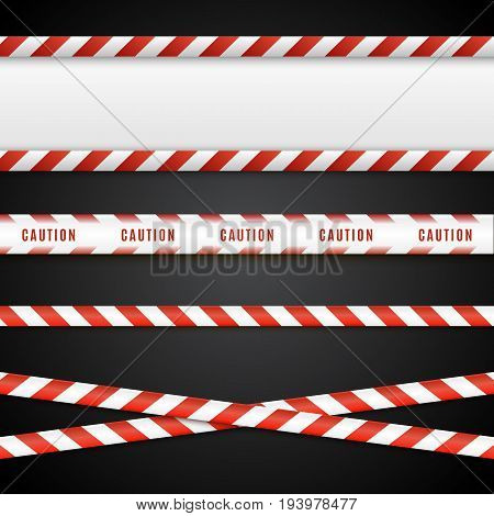 Red and white danger tapes. Caution lines isolated on black. Vector illustration