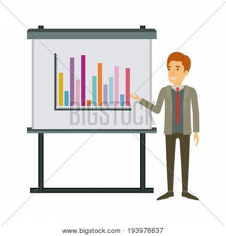 white background with businessman in formal suit with necktie making presentation vector illustration